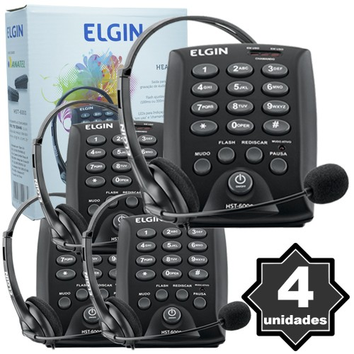 Kit 4 Telefones Headset com Base Discadora Teclado Elgin HST 6000 Telemarketing Preto  - BEST SALE SHOP