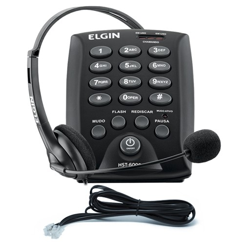 Kit 5 Telefones Headset com Base Discadora Teclado Elgin HST 6000 Telemarketing Preto  - BEST SALE SHOP