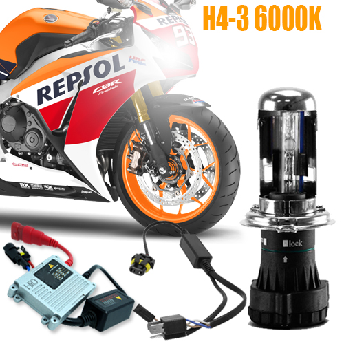 Kit Bi Xenon Moto 12V 35W H4-3 6000K  - BEST SALE SHOP
