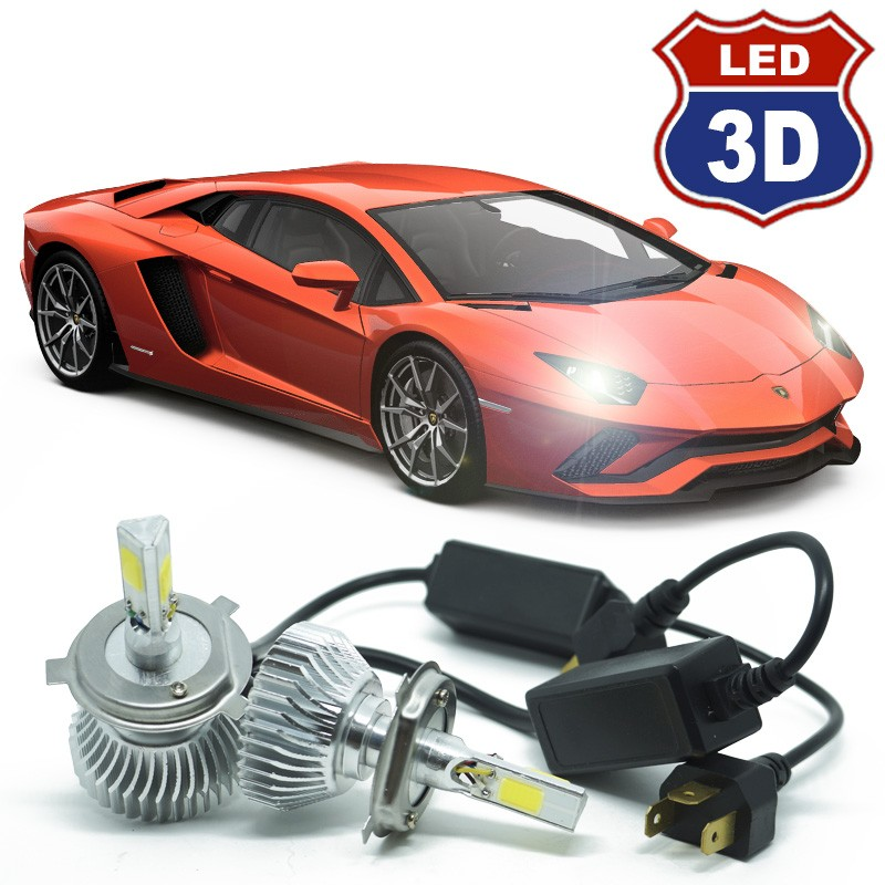 Kit Par Lâmpada Super Led Automotiva Farol Carro 3D 8000 Lumens 12V 24V 6000K - BEST SALE SHOP