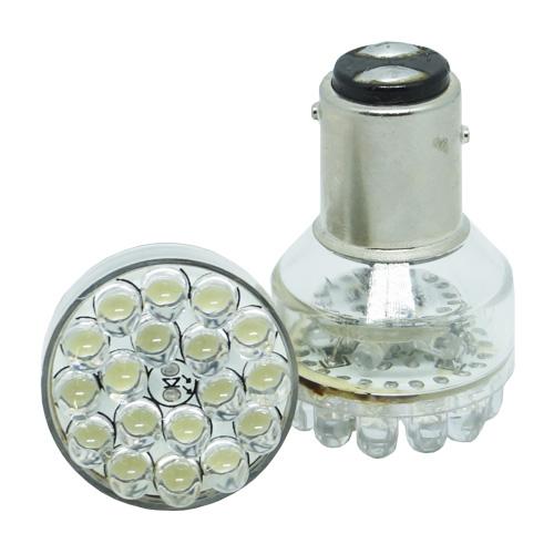 Par Lâmpada Led 12V Lanterna Freio Importado P21 BAY15D 18 Leds Branco  - BEST SALE SHOP