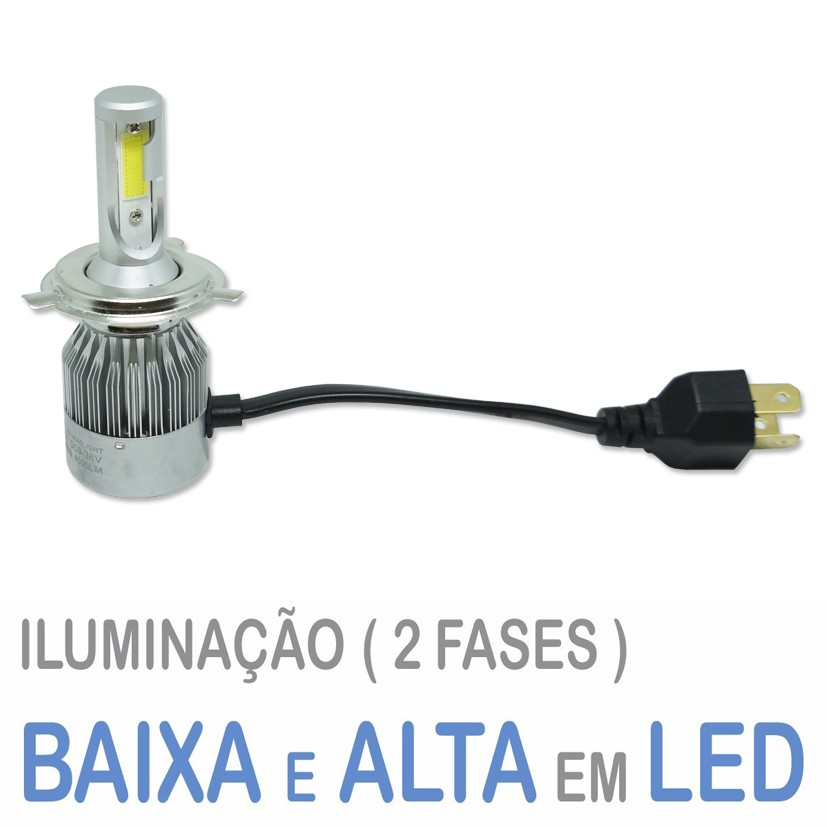 Lâmpada Super Led Moto 4500 Lumens 12V 24V 40W Guzz H4 (Bi) 6000K  - BEST SALE SHOP