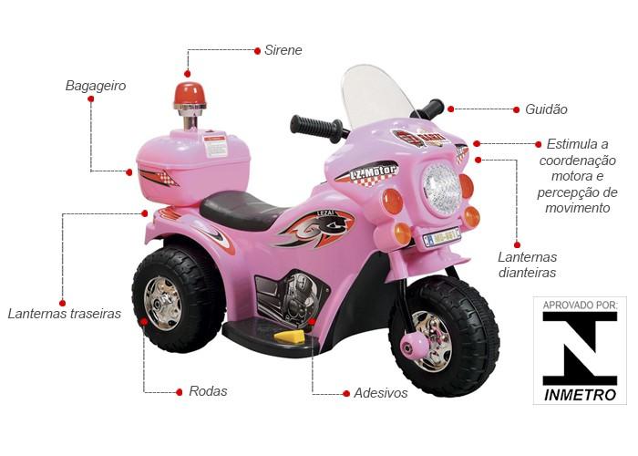 Mini Moto Elétrica Infantil 6V Importway BW002-R Rosa Triciclo  - BEST SALE SHOP