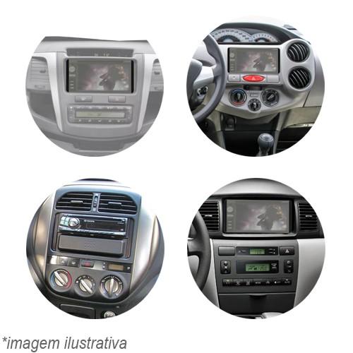 Moldura Painel 2 Din Dvd Fielder Corolla 03 à 08 Sw4 Hilux 05 à 11 Etios 12 à 14 Rav 02 à 06 Preto  - BEST SALE SHOP