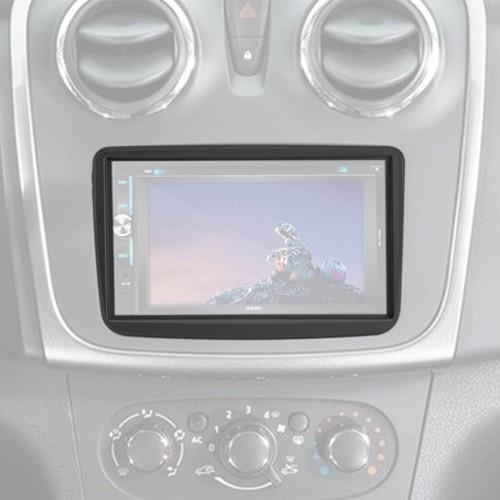 Moldura Painel 2 Din Dvd Renault Sandero 2007 à 2012 Preto  - BEST SALE SHOP