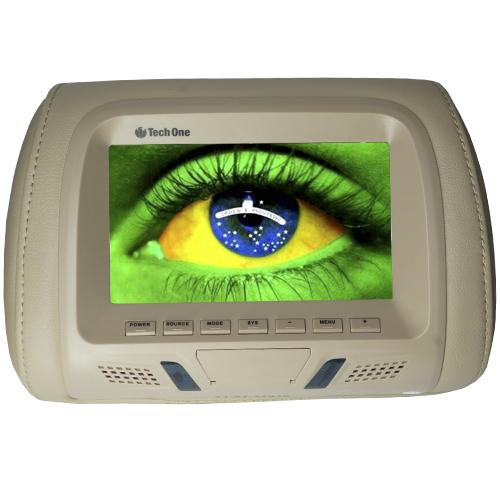 Par Encosto Cabeça Tela Monitor 1 Leitor Dvd Tech One Standard Bege  - BEST SALE SHOP