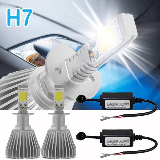 Par Lâmpada Super Led 4400 Lumens 12V 24V H7 6000K  - BEST SALE SHOP