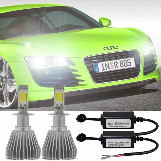 Par Lâmpada Super Led 6400 Lumens 12V 24V H7+H8 6000K  - BEST SALE SHOP