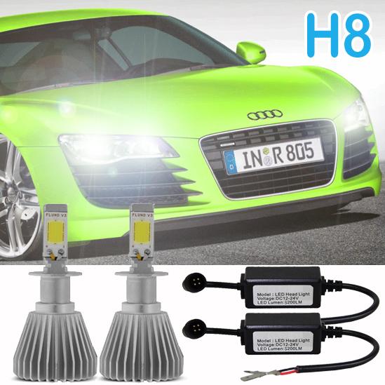 Par Lâmpada Super Led 6400 Lumens 12V 24V H8 6000K  - BEST SALE SHOP