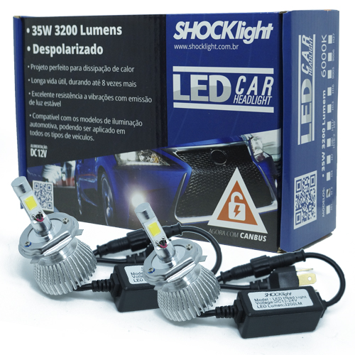 Par Lâmpada Super Led 6400 Lumens 12V 24V 35W Shocklight H4 (Bi) 6000K  - BEST SALE SHOP