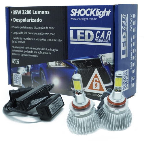 Par Lâmpada Super Led 6400 Lumens 12V 24V 35W Shocklight HB4 9006 6000K  - BEST SALE SHOP