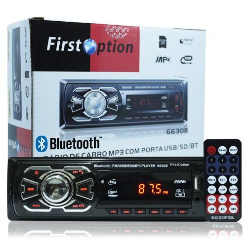 Rádio Mp3 Player Automotivo Bluetooth  First Option 6630B Fm Sd Usb Controle  - BEST SALE SHOP