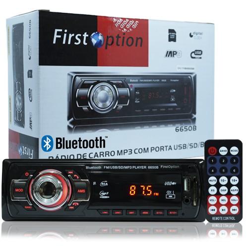 Rádio Mp3 Player Automotivo Bluetooth  First Option 6650B Fm Sd Usb Controle  - BEST SALE SHOP