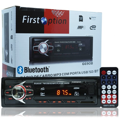 Rádio Mp3 Player Automotivo Bluetooth  First Option Fm Sd Usb Controle  - BEST SALE SHOP