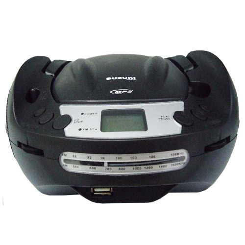 Rádio Portátil Boombox Som Cd Mp3 Player Usb Fm Am Bivolt Suzuki SZ-1962 Preto  - BEST SALE SHOP