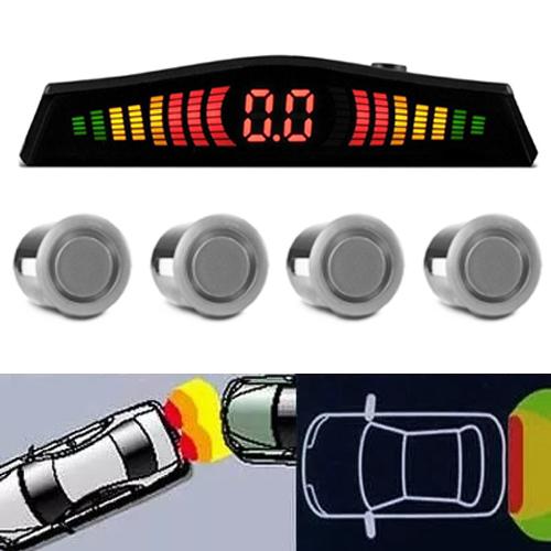 Sensor de Ré Estacionamento Universal 4 Pontos Display Led Cinoy 18mm YN-SR002PA Prata  - BEST SALE SHOP