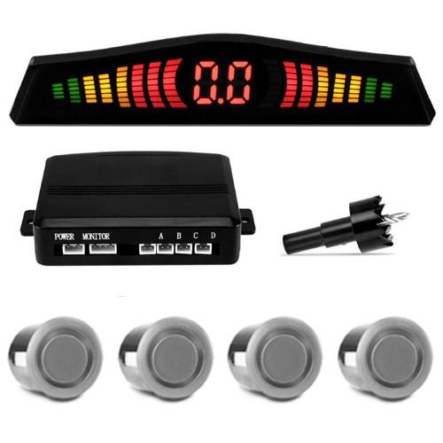 Sensor de Ré Estacionamento Universal 4 Pontos Display Led 18mm Prata  - BEST SALE SHOP