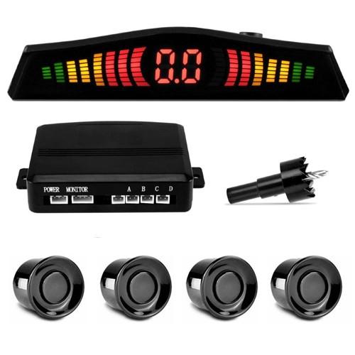 Sensor de Ré Estacionamento Universal 4 Pontos Display Led 18mm Preto Brilhante  - BEST SALE SHOP