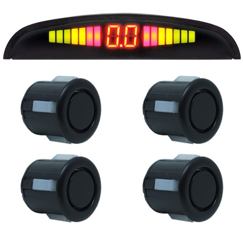 Sensor de Ré Estacionamento Universal 4 Pontos Display Led 18mm Preto Fosco - BEST SALE SHOP