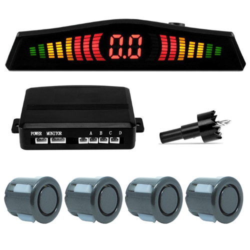 Sensor de Ré Estacionamento Universal 4 Pontos Display Led Grafite  - BEST SALE SHOP