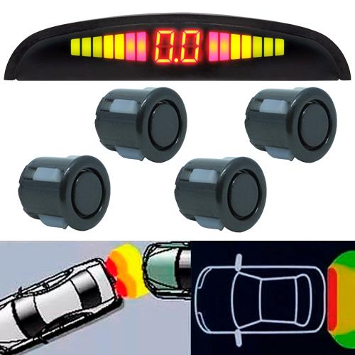 Sensor de Ré Estacionamento Universal 4 Pontos Display Led Grafite  - BEST SALE SHOP