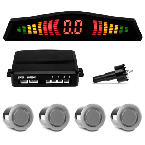 Sensor de Ré Estacionamento Universal 4 Pontos Display Led Prata  - BEST SALE SHOP