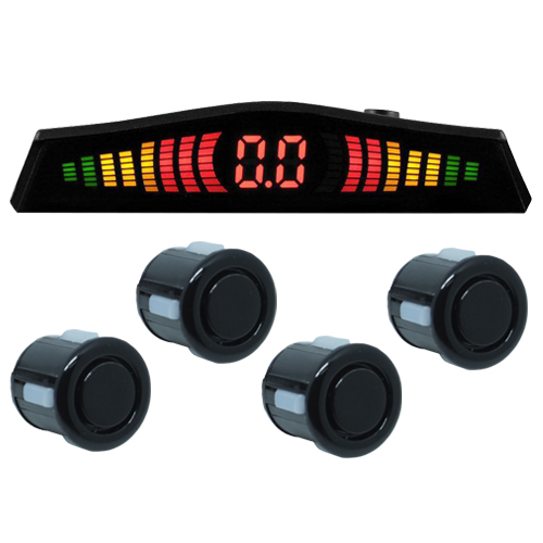 Sensor de Ré Estacionamento Universal 4 Pontos Display Led Tech One 18mm T1SE4PPO Preto Brilhante  - BEST SALE SHOP