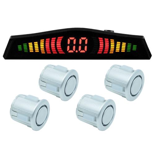 Sensor de Ré Estacionamento Universal 4 Pontos Display Led Tech One 18mmT1SE4PPA Prata  - BEST SALE SHOP