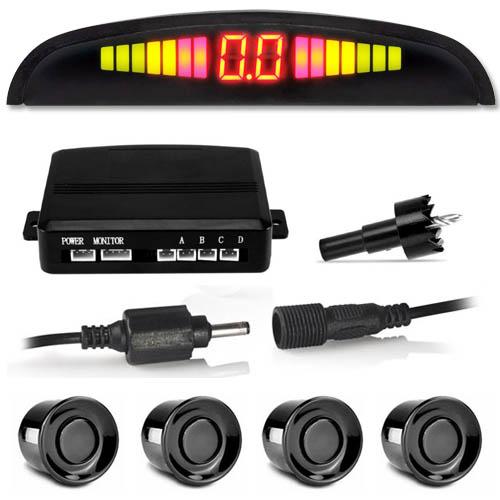 Sensor de Ré Estacionamento Universal 4 Pontos Display Led Tiger Auto 18mm TG-13.1.001 Preto Brilhante  - BEST SALE SHOP