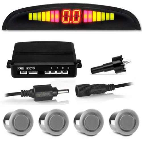 Sensor de Ré Estacionamento Universal 4 Pontos Display Led Tiger Auto 18mm TG-13.1.002 Prata  - BEST SALE SHOP