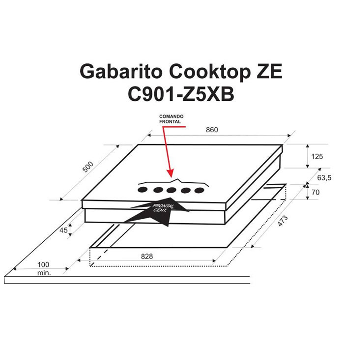 Cooktop a Gás Bistequeira 90cm C901 Z5XB Elettromec