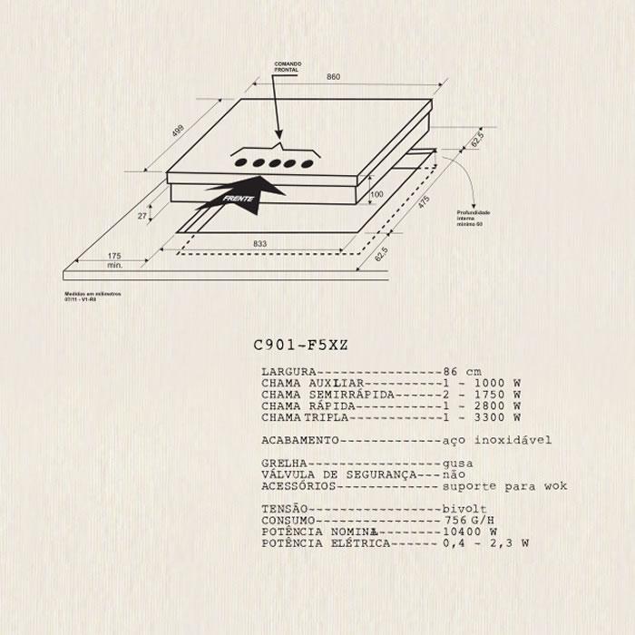 Cooktop a Gás Massima 90cm C901 Z5XL Elettromec