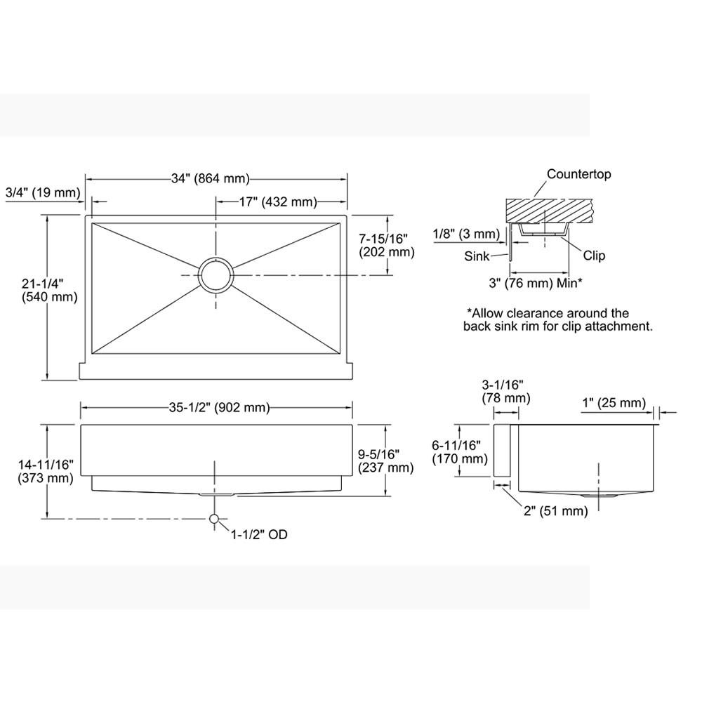 Cuba de Semi Encaixe Simples Vault K-3943BR-NA Kohler