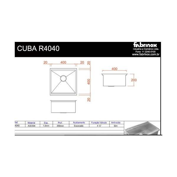 Cuba de Sobrepor ou Embutir Quadrato R4040 Craft