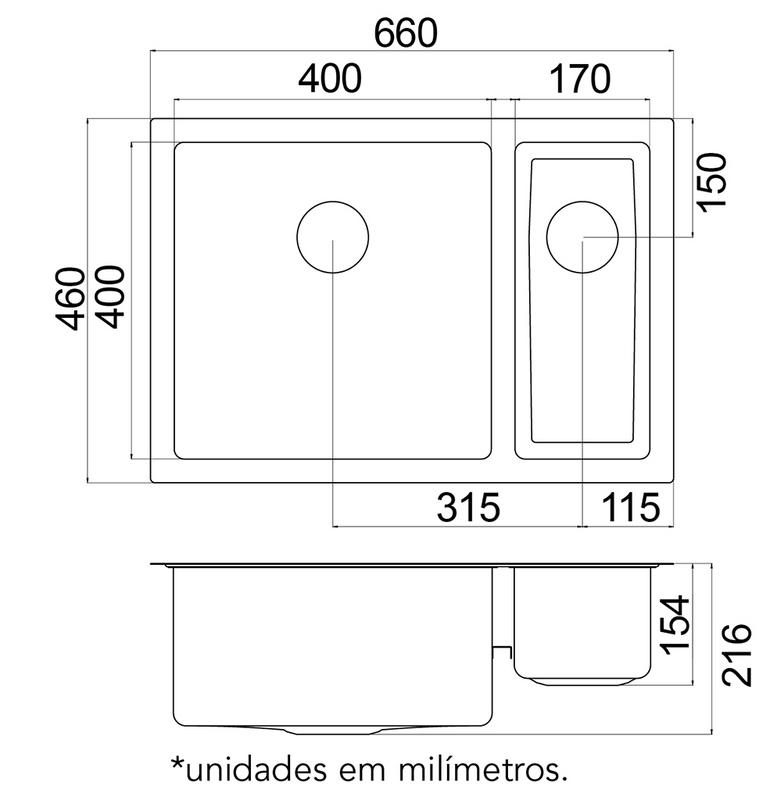 Cuba de Sobrepor Quadrum 1.5 C 40 Tramontina Design Collection