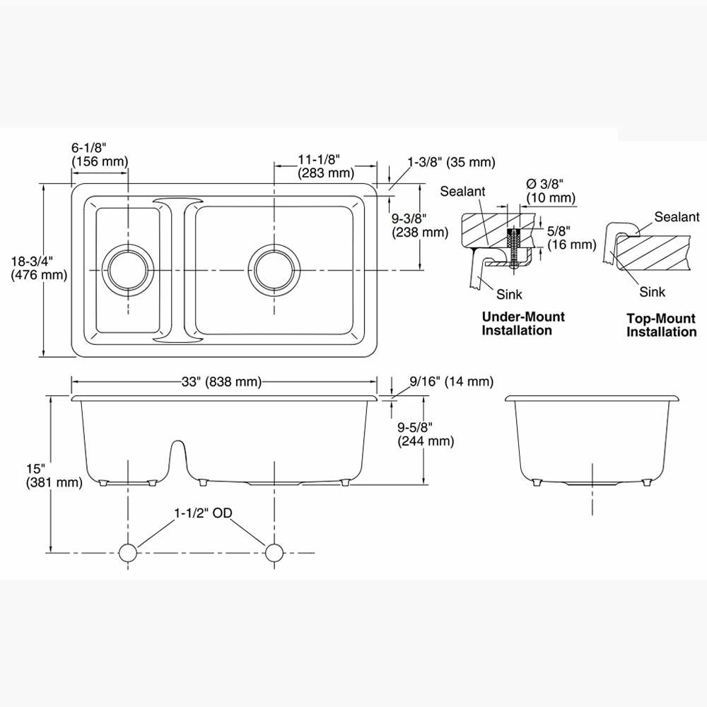 Cuba Dupla de Sobrepor ou Embutir Iron/Tones K-6625BR-0 Kohler