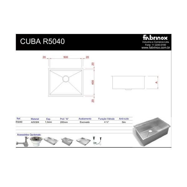 Cuba de Sobrepor ou Embutir Quadrato R5040 Craft