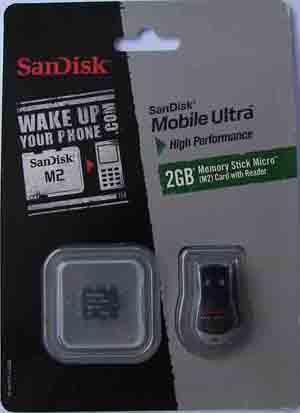 Memory Stick Micro 2GB M2 Sandisk Mobile Ultra com adaptador Usb