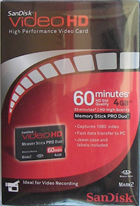 Memory Stick Pro Duo Videohd com Magic Gate 4GB Sandisk