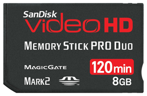 Memory Stick Pro Duo Videohd com Magic Gate 8GB Sandisk