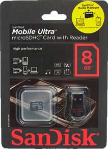 Cartão Memória Micro SDHC 8GB Sandisk Mobile Ultra com leitor USB