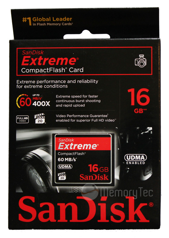 Cartão de Memória Compact Flash CF 16GB Sandisk Extreme 400x