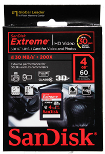 Cartão de Memória Sdhc 4GB Sandisk Extreme Classe 10 30MB/s
