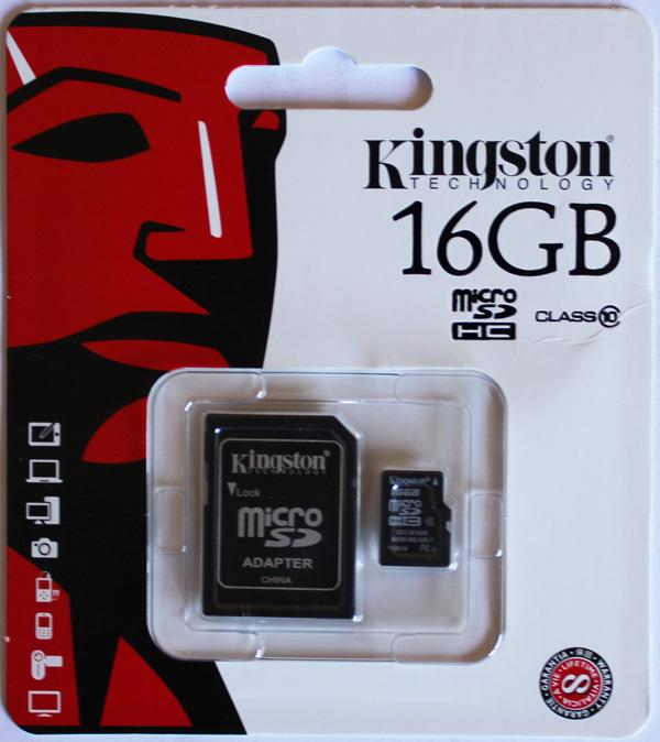 Cartão de Memória Micro SDHC 16GB Kingston classe 10