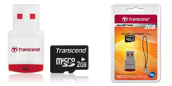 Cartão de memória MicroSD Transcend 2GB com Leitor USB TS2GUSD-P3