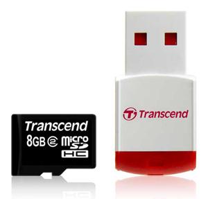 Cartão de memória Micro SDHC Transcend 8GB + Leitor USB