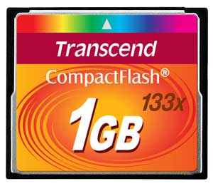 Cartão Memória Compact Flash CF 1GB Transcend 133x