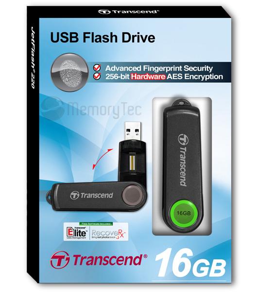 Pen Drive Transcend JetFlash 220 16GB Biométrico - leitura da impressão digital