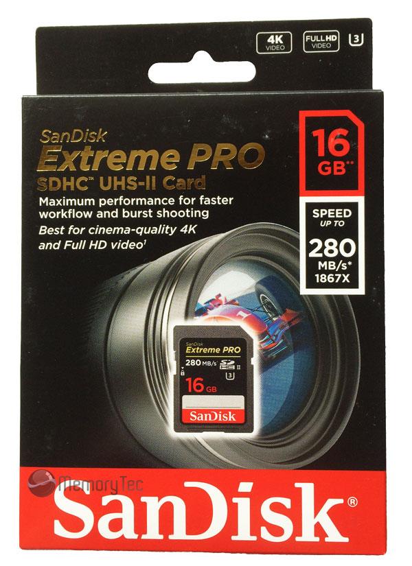Cartão de Memória SDHC 16GB SanDisk Extreme Pro UHS-II  280MB/s 4k