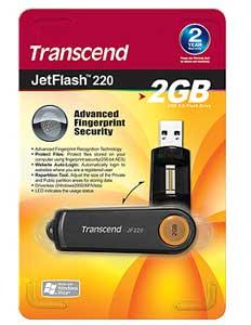 Pen Drive Transcend JetFlash 220 2GB Biométrico - leitura da impressão digital